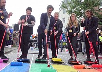 Reykjavik Pride starts with painting a street in t...